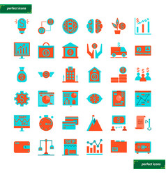 banking and financial flat icons set vector image