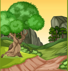 beautiful nature hill landscape vector image