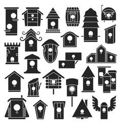 Birdhouse black set icon vector