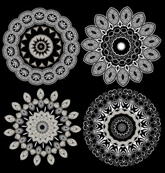 black and white elegance greek line art mandalas vector image