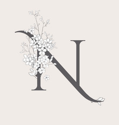 Blooming floral initial n monogram and logo vector