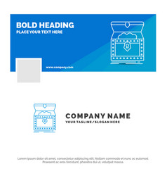 Blue business logo template for box chest gold vector