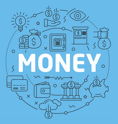 Blue line flat circle money vector