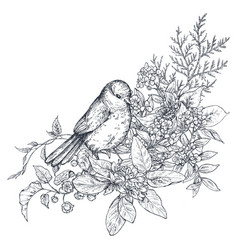 Bouquet with hand drawn blossom branches and bird vector