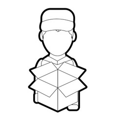 Box and man design vector