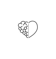 Brain love logo design vector