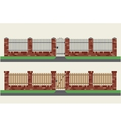 Brick fences with wooden and metal vector image