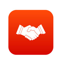 business handshake icon digital red vector image