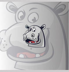 cartoon head hippo vector image