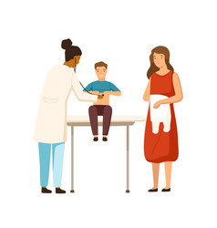 Cartoon mother and child boy visit therapist at vector