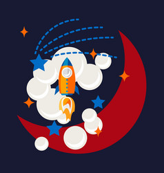 cartoon rocket and moon in space t shirt design vector image