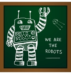 chalk draw robot on blackboard Eps10 vector image