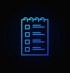 checklist blue outline icon to do list vector image