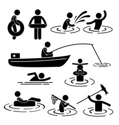 Children leisure swimming fishing playing at vector