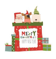christmas presents with santabull and polar bear vector image