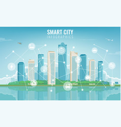 City infographic modern city with infographic vector