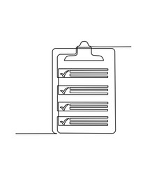 Clipboard with checklist continuous line one vector