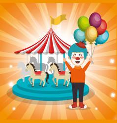 Clown with carousel circus show vector