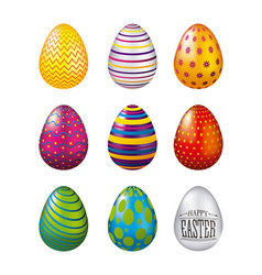 Colorful glossy eggs easter celebration set vector