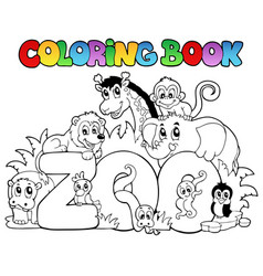 Coloring book zoo sign with animals vector