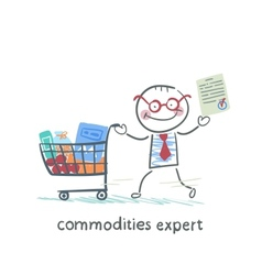 Commodities expert with the document stands near vector