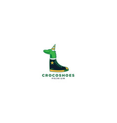 Crocodile or alligator with shoes logo vector