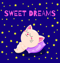 cute cartoon with a sleeping kitten vector image