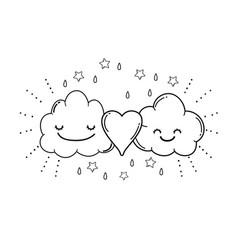 Cute clouds cartoon in black and white vector