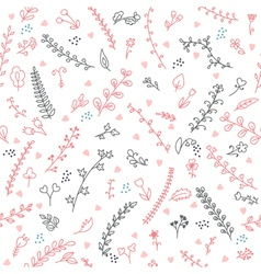 Cute floral seamless pattern with hearts vector image