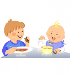 Cute kids eating vector