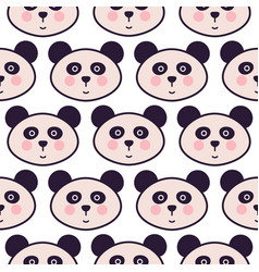 cute panda head cartoon seamless pattern vector image