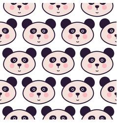 Cute panda head cartoon seamless pattern vector