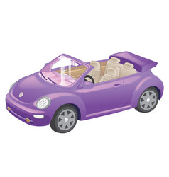 Detailed purple convertible car cartoon isolated vector