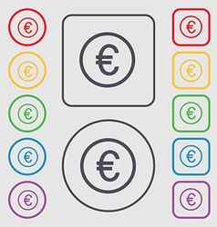 Euro icon sign symbol on the Round and square vector image