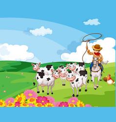 Farm scene with animal cartoon style vector
