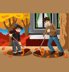 father son raking leaves during fall season vector image
