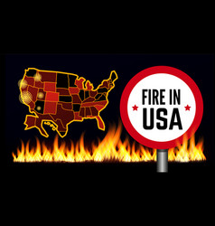 Fire in usa infographic map vector