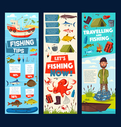 Fishing trip and fisherman fish catch tips banners vector