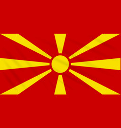 Flag macedonia swaying in wind realistic vector