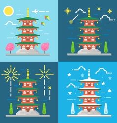Flat design 4 styles of Chureito pagoda Japan vector
