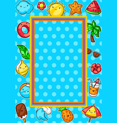 Frame with cute kawaii summer items vector