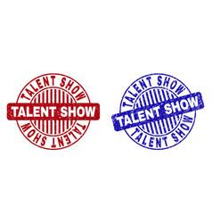 Grunge talent show textured round watermarks vector