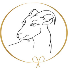 handdrawn goat in round golden frame isolated on a vector image