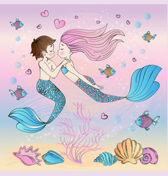 Happiness mermaid cartoon travel tropical vector