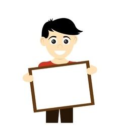 happy boy holding board icon vector image