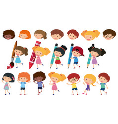 Happy children with different writing tools vector