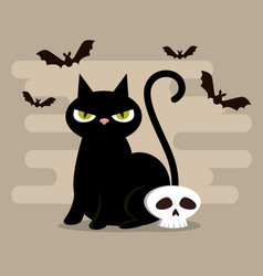 Happy halloween card with black cat vector