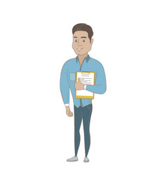 Hispanic businessman holding clipboard with papers vector