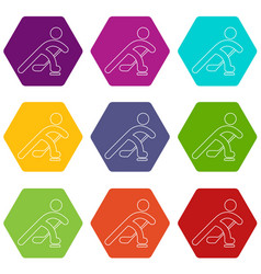 hockey player icons set 9 vector image