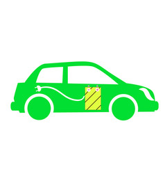 icon green electric cars vector image
